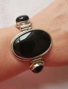 Lovely Sterling Silver Onyx Chunky Bracelet