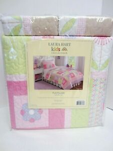 Laura Hart Quilt Set Full/Queen Happy Owls Shams Pink Green Lavender NEW
