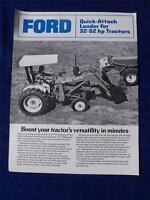 FORD QUICK ATTACH LOADER SALES BROCHURE FOR 32-52 HP TRACTORS FARM MACHINERY