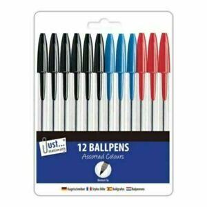 12 x Ball Pens Ball Point Pen MEDIUM Biros BLACK BLUE RED Ballpoint CHEAP!