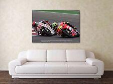 Rossi & Simoncelli 30x20'' LARGE Moto GP Oil Honda Ducati Framed Picture Canvas