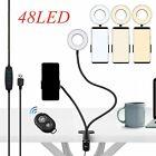 LED Selfie Ring Light Phone Holder Flexible Arm Stand Live Stream 3 Light Mode