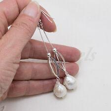 Orecchini argento 925 grandi perle barocche naturali gioiello sposa matrimonio
