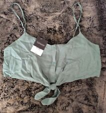 Brand New With Tags Topshop Green Tie Front Crop Top, Strappy, UK 12