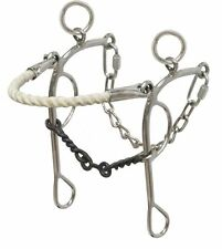 Rope Nose Combo Hackamore Stainless Steel Twisted Wire Dog Bone Bit 5""
