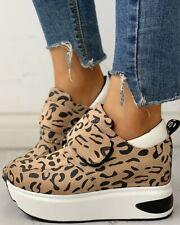 Women Leopard Print Platform Wedge Heel Hook Loop Casual Running Shoes Sneaker