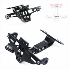 Universal Adjustable Motorcycle License Plate Frame Holder Bracket W/ LED Light