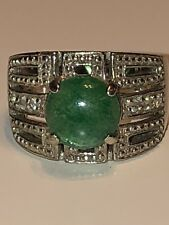 Ross Simons Sterling Silver 925 Green Jade CZ Ring Size 8