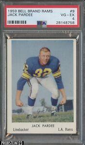 1959 Bell Brand Rams #9 Jack Pardee Los Angeles Rams PSA 4 VG-EX