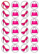 Handbag And Shoe Cake/Cupcake Toppers - Designer Decorations On Wafer Rice Paper