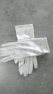 Holy Communion Gloves. White Satin With Pearl Detail