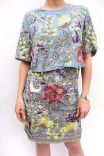 Vestiti da donna blu in misto cotone con girocollo