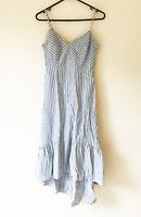 Miss Valley Blue & White Stripe Midi Dress Straps Size 8 Casual Beach Boho