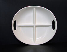 "Matceramica Large Handled Divided Serving or Olive Plate 12.5"" Portugal White"