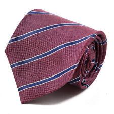 New $230 ISAIA NAPOLI 7-Fold Berry and Navy Blue Ribbon Stripe Silk Tie