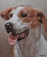 Characterful John Silver Original Oil Painting - Portrait Of A Foxhound Dog