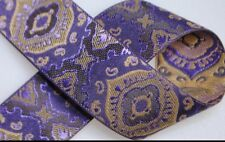 5 yds Awesome Jacquard Ribbon Trim , Purples / Tan 1� Wide Nice Trim
