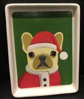 """Santa Claus Dog"" Christmas Ceramic Platter-Plate by Magenta / New"