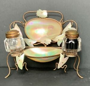 Vintage French inkwell with abalone shell
