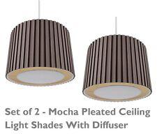 2 X Moca 350 mm a pieghe non elettrici Paralume Luce da Soffitto con AVORIO diffusa