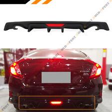 For 16-18 Honda Civic 4dr Sedan Dual Exhaust Bumper Diffuser W/ LED Brake Light