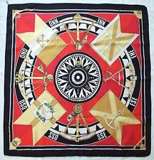 RARE Authentic HERMES Loic Dubigeon SEXTANS 1981 Red Black COMPASS Silk Scarf