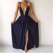 Strappy Plunge Deep V Neck Grecian Goddess Cotton Sun Long Dress L
