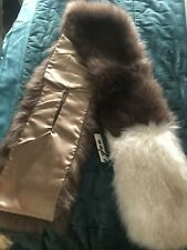 Genuine MSH Brown/Cream Tipped Faux Fur Stole/Wrap/Scarf -Lined-  BNWT - Xmas?