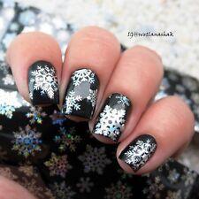 Holographic Nai Foil Wraps Nail Art Decals Transfer Stickers Christmas Snowflake