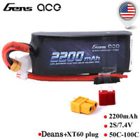 Gensace 2200mAh 50C 2S 7.4V LiPo Battery Deans+XT60 Plug For RC Car Traxxas Losi