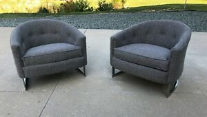 Fabulous Pair of Milo Baughman Club chairs w/ new upholstery mid century modern