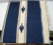 Vintage Wool Hand Woven Rug Ortega's Weaving Shop Chimayo New Mexico 33 x 61