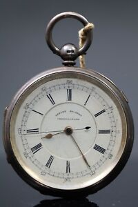 1900 Silver Cased Big Chunky Chronograph Centre Second Pocket Watch Working AC1
