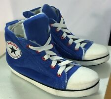 Kids Slippers High-Top Converse Style Blue Size UK 11-12