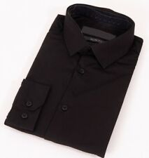 Mens Black Formal Shirt Long Sleeve Slim Regular Fit Plain Business Work Collar