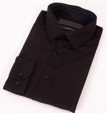 Mens Black Shirt Formal Long Sleeve Slim Regular Fit Plain Business Work Collar