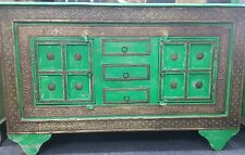 Rustic green & gold pressed metal side board / buffet cabinet / table w drawers
