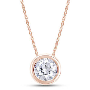 """1 Ct Diamond Simulated Solitaire Pendant Necklace 14K Solid Rose Gold 18"""""""