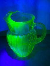 "Vintage Green Uranium Glass Water Tea Pitcher Ribbed 9"" Tall"