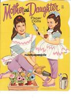 Vintge 1960s Mother Daughter Paper Dolls ~Cute Laser Reproductin~Org Size Uncut