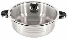 12 Qt Quart Heavy Stainless Steel Tri-Ply Base Wide Low Pot with glass Lid