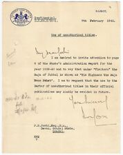 India WISA 1942 letter about the unauthorized use of titles by Raja of Jubbal
