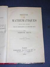 Mathématiques Hoefer 1902 hist. des mathémathiques exemplaire relié bon état