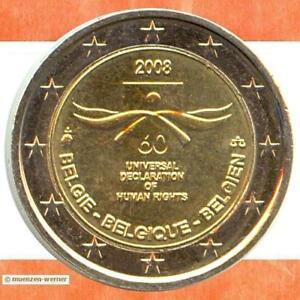 Sondermünzen Belgien: 2 Euro Münze 2008 Menschenrechte Sondermünze Gedenkmünze