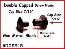 (6) 1/4 ~ Black Screw Together ~ Double Capped Rivet ~ Leather Sling Rivets