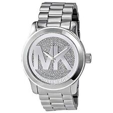 NWT MICHAEL KORS Runway Silver Glitz MK Logo Oversized Quartz 45mm Watch MK5544