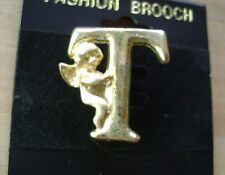 "NWT- FASHION  GOLD TONE INITIAL LETTER ""T"" ANGEL CHERUB  PIN/BROOCH"