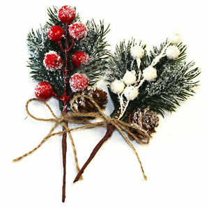 10X Christmas Artificial Flowers Branches Pine Berry Cone Red Fruit Home Decor