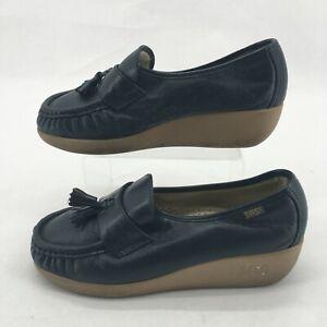 SAS Moc Toe Tassel Slip On Loafer Wedge 6 Womens Navy Leather Comfort Shoes