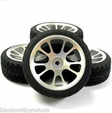 AA1010S 1/10 Scale RC Car On Road Wheel and Tread Tyre Silver Alloy 10 Spoke 4